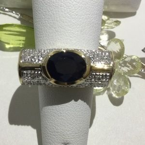 14K Gold and White Gold Sapphire and Diamond Ring